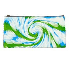 Tie Dye Green Blue Abstract Swirl Pencil Cases by BrightVibesDesign