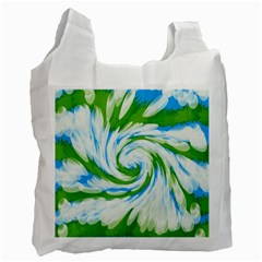 Tie Dye Green Blue Abstract Swirl Recycle Bag (one Side) by BrightVibesDesign