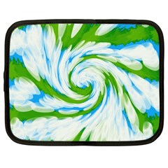 Tie Dye Green Blue Abstract Swirl Netbook Case (xl)  by BrightVibesDesign