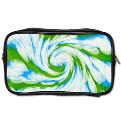 Tie Dye Green Blue Abstract Swirl Toiletries Bags 2 Side by BrightVibesDesign