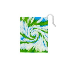Tie Dye Green Blue Abstract Swirl Drawstring Pouches (xs)