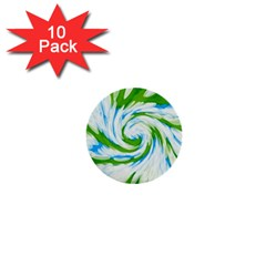 Tie Dye Green Blue Abstract Swirl 1  Mini Buttons (10 Pack)  by BrightVibesDesign