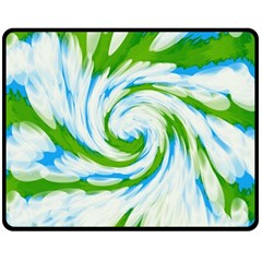 Tie Dye Green Blue Abstract Swirl Fleece Blanket (medium)  by BrightVibesDesign