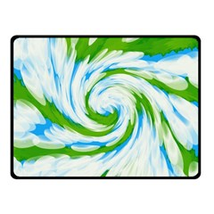 Tie Dye Green Blue Abstract Swirl Fleece Blanket (small) by BrightVibesDesign