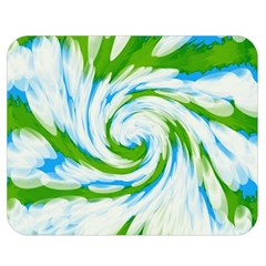Tie Dye Green Blue Abstract Swirl Double Sided Flano Blanket (medium)  by BrightVibesDesign
