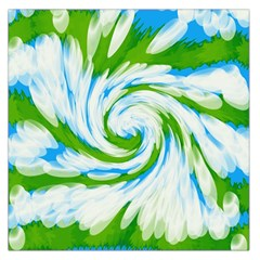 Tie Dye Green Blue Abstract Swirl Large Satin Scarf (square) by BrightVibesDesign