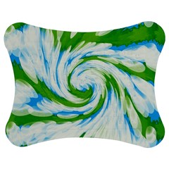 Tie Dye Green Blue Abstract Swirl Jigsaw Puzzle Photo Stand (bow) by BrightVibesDesign