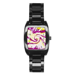 Tie Dye Pink Yellow Swirl Abstract Stainless Steel Barrel Watch by BrightVibesDesign