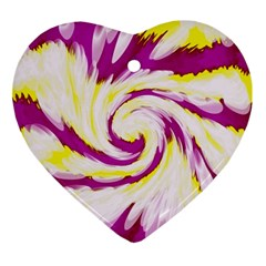 Tie Dye Pink Yellow Abstract Swirl Ornament (heart)  by BrightVibesDesign