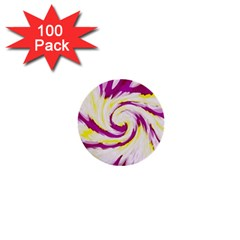 Tie Dye Pink Yellow Abstract Swirl 1  Mini Buttons (100 Pack)  by BrightVibesDesign