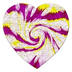 Tie Dye Pink Yellow Abstract Swirl Jigsaw Puzzle (heart) by BrightVibesDesign