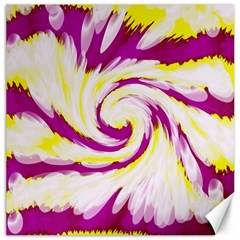 Tie Dye Pink Yellow Abstract Swirl Canvas 16  X 16   by BrightVibesDesign