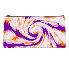 Tie Dye Purple Orange Abstract Swirl Pencil Cases by BrightVibesDesign