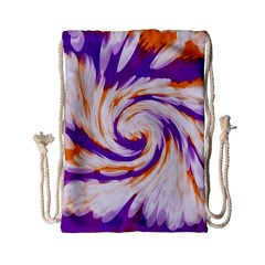 Tie Dye Purple Orange Abstract Swirl Drawstring Bag (small) by BrightVibesDesign