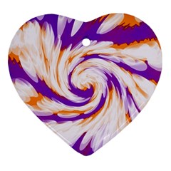Tie Dye Purple Orange Abstract Swirl Heart Ornament (2 Sides) by BrightVibesDesign