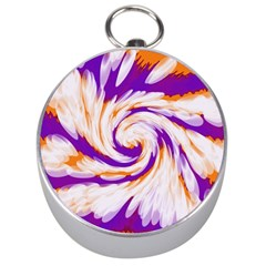 Tie Dye Purple Orange Abstract Swirl Silver Compasses by BrightVibesDesign
