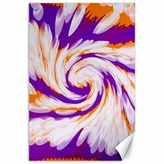 Tie Dye Purple Orange Abstract Swirl Canvas 24  X 36  by BrightVibesDesign
