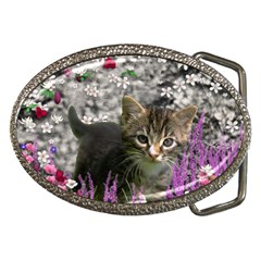 Emma In Flowers I, Little Gray Tabby Kitty Cat Belt Buckles by DianeClancy