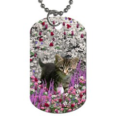 Emma In Flowers I, Little Gray Tabby Kitty Cat Dog Tag (two Sides) by DianeClancy