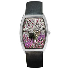Emma In Flowers I, Little Gray Tabby Kitty Cat Barrel Style Metal Watch by DianeClancy