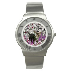 Emma In Flowers I, Little Gray Tabby Kitty Cat Stainless Steel Watch