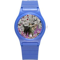 Emma In Flowers I, Little Gray Tabby Kitty Cat Round Plastic Sport Watch (s) by DianeClancy