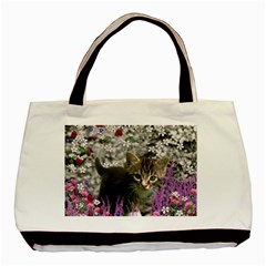 Emma In Flowers I, Little Gray Tabby Kitty Cat Basic Tote Bag by DianeClancy