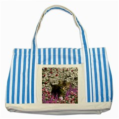 Emma In Flowers I, Little Gray Tabby Kitty Cat Striped Blue Tote Bag by DianeClancy