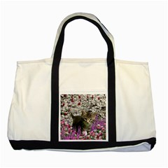 Emma In Flowers I, Little Gray Tabby Kitty Cat Two Tone Tote Bag by DianeClancy