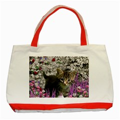 Emma In Flowers I, Little Gray Tabby Kitty Cat Classic Tote Bag (red) by DianeClancy