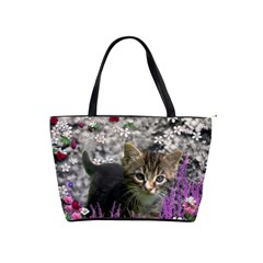 Emma In Flowers I, Little Gray Tabby Kitty Cat Shoulder Handbags by DianeClancy