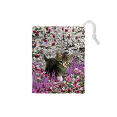 Emma In Flowers I, Little Gray Tabby Kitty Cat Drawstring Pouches (small)  by DianeClancy
