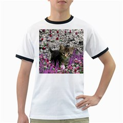 Emma In Flowers I, Little Gray Tabby Kitty Cat Ringer T-shirts by DianeClancy