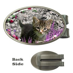 Emma In Flowers I, Little Gray Tabby Kitty Cat Money Clips (oval)  by DianeClancy