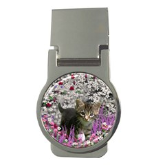 Emma In Flowers I, Little Gray Tabby Kitty Cat Money Clips (round)  by DianeClancy