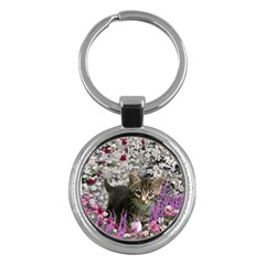Emma In Flowers I, Little Gray Tabby Kitty Cat Key Chains (round)  by DianeClancy