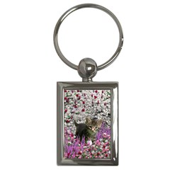 Emma In Flowers I, Little Gray Tabby Kitty Cat Key Chains (rectangle)  by DianeClancy