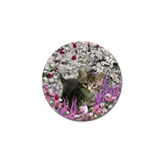 Emma In Flowers I, Little Gray Tabby Kitty Cat Golf Ball Marker by DianeClancy