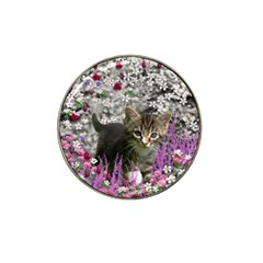 Emma In Flowers I, Little Gray Tabby Kitty Cat Hat Clip Ball Marker (4 Pack) by DianeClancy