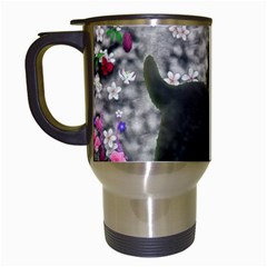 Emma In Flowers I, Little Gray Tabby Kitty Cat Travel Mugs (white) by DianeClancy