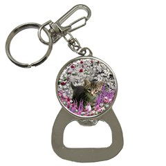 Emma In Flowers I, Little Gray Tabby Kitty Cat Bottle Opener Key Chains by DianeClancy