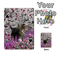 Emma In Flowers I, Little Gray Tabby Kitty Cat Playing Cards 54 Designs  by DianeClancy