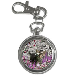 Emma In Flowers I, Little Gray Tabby Kitty Cat Key Chain Watches by DianeClancy