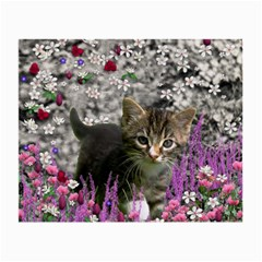 Emma In Flowers I, Little Gray Tabby Kitty Cat Small Glasses Cloth by DianeClancy