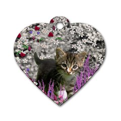 Emma In Flowers I, Little Gray Tabby Kitty Cat Dog Tag Heart (two Sides) by DianeClancy