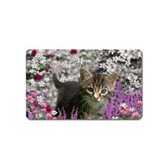 Emma In Flowers I, Little Gray Tabby Kitty Cat Magnet (name Card) by DianeClancy