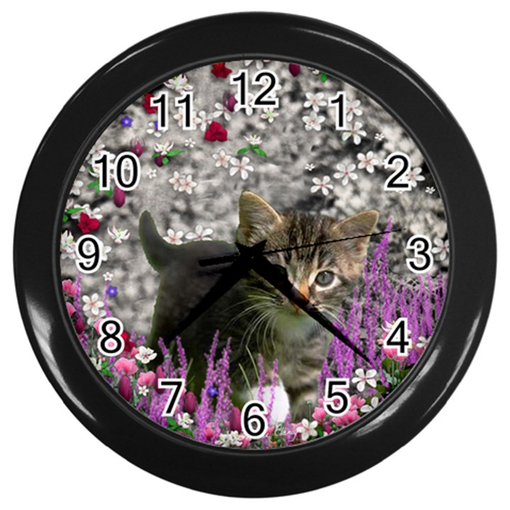 Emma In Flowers I, Little Gray Tabby Kitty Cat Wall Clocks (Black)