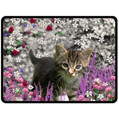 Emma In Flowers I, Little Gray Tabby Kitty Cat Fleece Blanket (large)  by DianeClancy