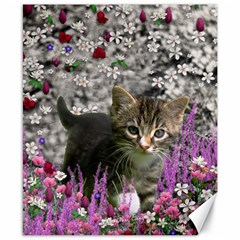 Emma In Flowers I, Little Gray Tabby Kitty Cat Canvas 8  X 10  by DianeClancy