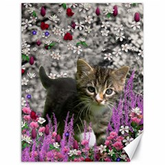 Emma In Flowers I, Little Gray Tabby Kitty Cat Canvas 18  X 24   by DianeClancy